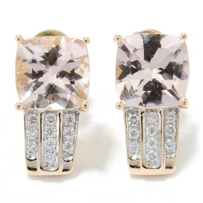 131-051 - Gem Treasures 18K Gold 2.31ctw Peach Morganite & Diamond Earrings