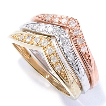 131-054 - Diamond Treasures Set of Three 0.25ctw Diamond Chevron Shaped Stack Ring