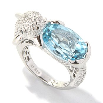 131-055 - NYC II 7.05ctw Sky Blue Topaz & Multi Diamond Dolphin Ring