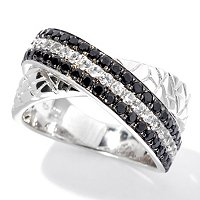 SS/P RING BLK SPINEL & WHITE ZIRCON ANIMAL PRINT TEXTURED BAND