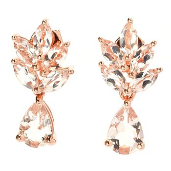 131-058 - NYC II 2.07ctw Marquise & Pear Shaped Morganite Drop Earrings