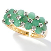 SS/18KV RING SAKOTA EMERALD & WHT ZIRC BAND