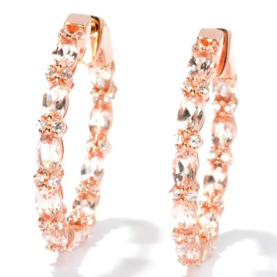 "131-062 - NYC II 1.25"" 5.34ctw Morganite & White Zircon Inside-Out Hoop Earrings"