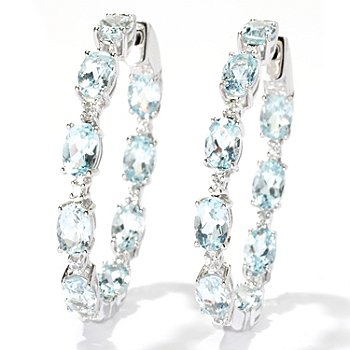 131-064 - NYC II 1.5'' 8.34ctw Aquamarine & White Zircon Inside-out Hoop Earrings