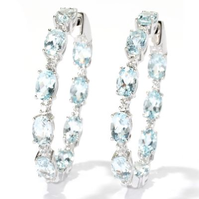 "131-064 - NYC II 1.5"" 8.34ctw Aquamarine & White Zircon Inside-Out Hoop Earrings"