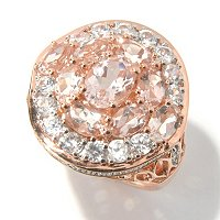 SS/18K ROSE VERMEIL RING MORGANITE & WHT ZIRC
