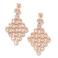 SS/18K ROSE VERMEIL EAR MORGANITE DIAMOND-SHAPE CHANDELIER
