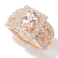 SS/18K ROSE VERMEIL RING 8X6mm MORGANITE & WHT ZIRC