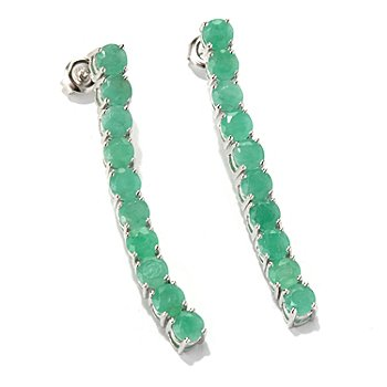 131-072 - NYC II 1.5'' 4.00ctw Sakota Emerald Elongated Line Drop Earrings