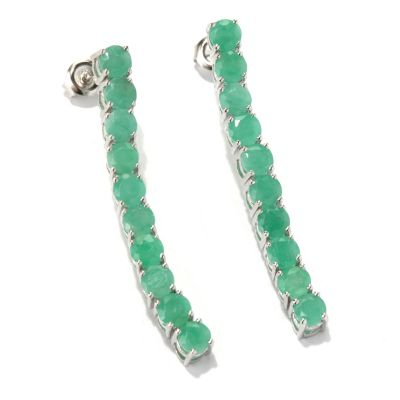 "131-072 - NYC II 1.5"" 4.00ctw Sakota Emerald Elongated Line Drop Earrings"