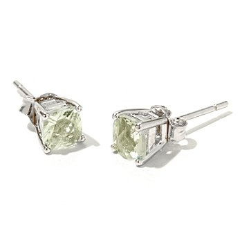 131-076 - Gem Insider Sterling Silver 1.00ctw Square Gemstone Stud Earrings