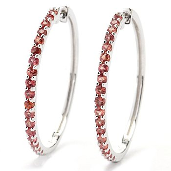 131-078 - Gem Treasures Sterling Silver 1.50ctw Fancy Color Sapphire Hoop Earrings