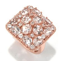 SS/18K ROSE VERMEIL RING 12-STONE MORGANITE SQUARE TOP