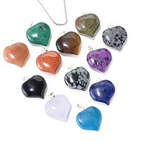SS 12pc SET GEMSTONE HEART PENDANT w/CHAIN