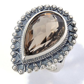 131-088 - Gem Insider Sterling Silver 9.16ctw Pear Cut Smoky Quartz Beaded Ring