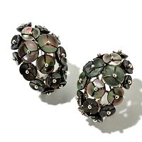 SS BLACK MOP FLOWER EARRINGS w/OMEGA BACK
