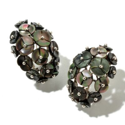 131-093 - Sterling Silver 5-8mm Black Mother-of-Pearl Flower Earrings w/ Omega Backs