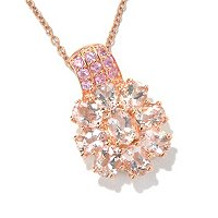 "SS/18K ROSE VERMEIL PEND MORGANITE & PINK SAPH FLOWER w/ 18"" CHAIN"