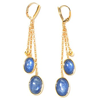 131-107 - Gems of Distinction 3'' Kyanite Double Oval Drop Earrings