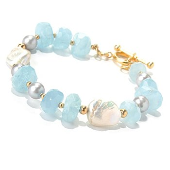 131-108 - Gems of Distinction Aquamarine Bead & Multi Freshwater Cultured Pearl Toggle Bracelet