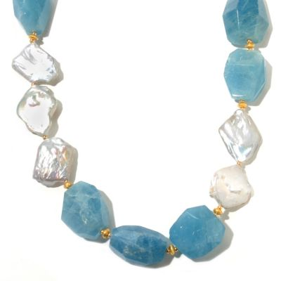 "131-109 - Gems of Distinction 23.25"" Aquamarine & White Freshwater Cultured Pearl Toggle Necklace"