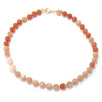 SS/18KGP NECK PEACH MOONSTONE & CARNELIAN - 24""
