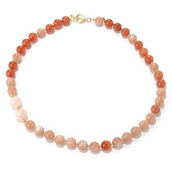 131-115 - Gems of Distinction 24'' Moonstone, Carnelian & Morganite Beaded Toggle Necklace