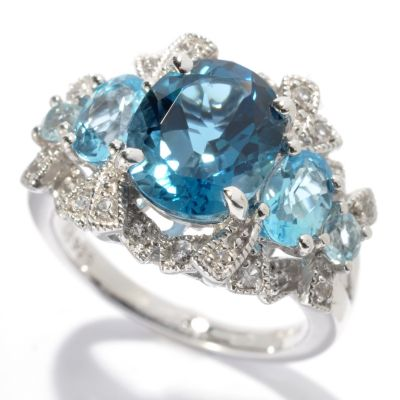 131-127 - Gem Insider Sterling Silver 3.81ctw Trio Blue & White Topaz Multi Layer Ring