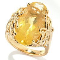SS/P RING ELONGATED OVAL YELLOW FLUORITE