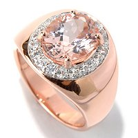 SS/18K ROSE VERMEIL RING 10x8MM MORGANITE & PINK SAPH