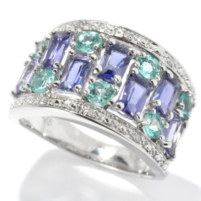 131-157 - NYC II 1.83ctw Iolite, Apatite & Diamond Band Ring