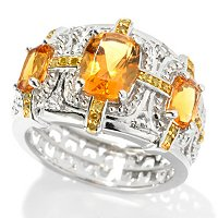 SS/P RING GOLDEN CITRINE & YELLOW DIAMOND