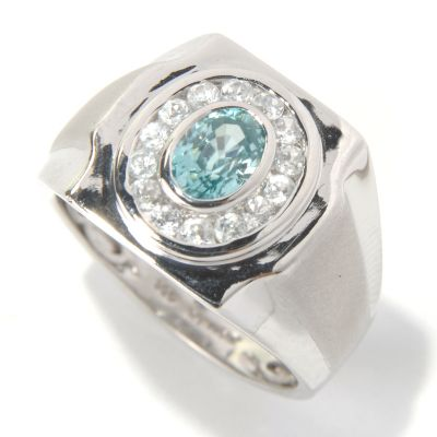 131-169 - NYC II Men's 1.84ctw Blue & White Zircon Halo Ring