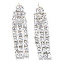 SS 3 ROW DROP WHITE ZIRCON EARRINGS
