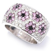 SS WHITE TOPAZ WITH PINK SAPP AND BLACK SPINEL FLOWER RING