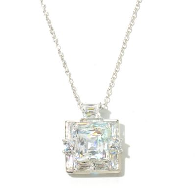131-187 - TYCOON Platinum Embraced™ Square & Rectangle Simulated Diamond Pendant w/ Chain