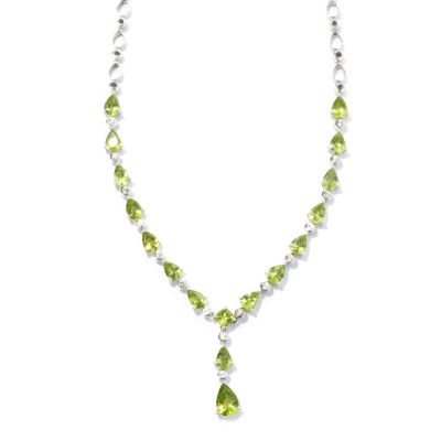 "131-191 - Gem Insider Sterling Silver 16"" 9.15ctw Peridot & Zircon Drop Necklace"
