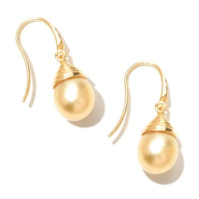 "131-197 - 10-11mm 1.25"" Semi-Baroque Golden South Sea Cultured Pearl Drop Earrings"