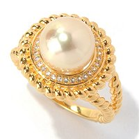 SS/YP 9-10mm GOLDEN SOUTH SEA PEAR & WHITE TOPAZ BRAIDED DETAIL RING