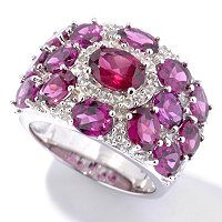 SS RHOD GARNET RING WITH WHITE TOPAZ