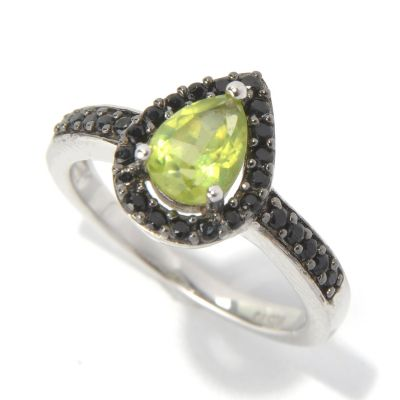 131-211 - Gem Insider Sterling Silver 1.24ctw Pear Cut Peridot & Spinel Halo Ring