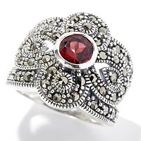 SS GARNET WITH MARCASITE ACCENT RING