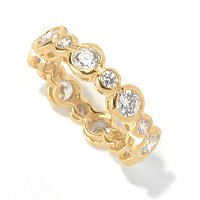 SS/CHOICE ROUND CUT SEMI BEZEL SET ALTERNATING ETERNITY BAND