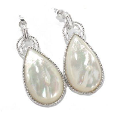 "131-227 - Gem Insider Sterling Silver 1.75"" Mother-of- Pearl Teardrop Earrings"