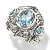SS OVAL SWISS BLUE TOPAZ WITH LONDON ACCENT RING