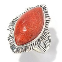 SS MARQUISE RED CORAL RING