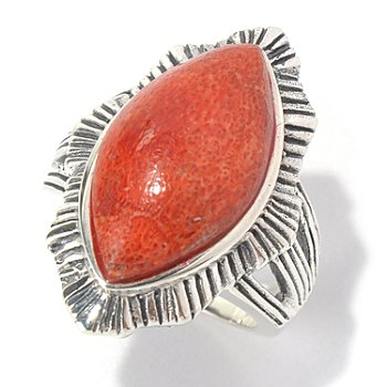 131-229 - Gem Insider Sterling Silver 20 x 11mm Red Coral Marquise Split Shank Ring