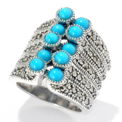 131-245 - Gem Insider Sterling Silver Round Sleeping Beauty Turquoise & Marcasite Ring