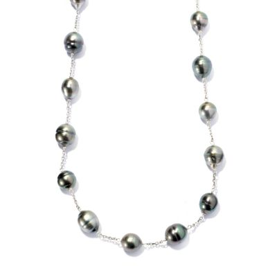 "131-254 - Sterling Silver 24"" 9-12mm Peacock Tahitian Cultured Pearl Convertible Station Necklace"