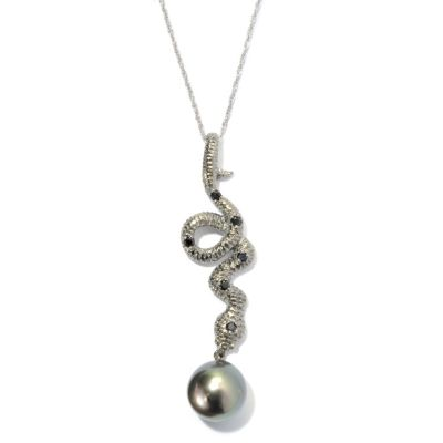 "131-260 - Sterling Silver 11-12mm Tahitian Cultured Pearl & Spinel Snake Pendant w/ 18"" Chain"